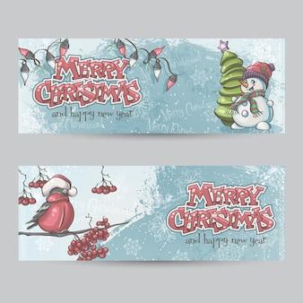 Set van horizontale banners voor kerstmis en het nieuwe jaar