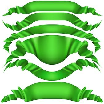 Set van horizontale groene banners.