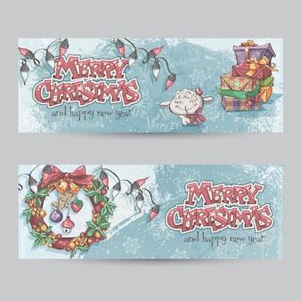 Set van horizontale kerstbanners met de afbeelding van een lam, gi