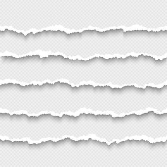 Set van horizontale naadloze gescheurd witboek met schaduw