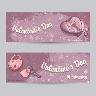 Set van horizontale wenskaarten voor valentijnsdag