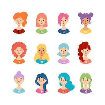 Set van horoscooptekens als vrouwen. verzameling van sterrenbeelden. vlakke stijl