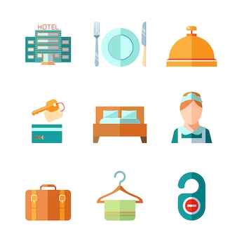 Set van hotel bel sleutel bed bagage kamermeisje iconen in vlakke kleurstijl