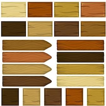 Set van houten bakstenen en planken in cartoon-stijl