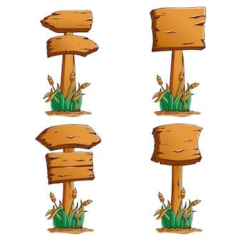 Set van houten bord met gekleurde hand getrokken stijl