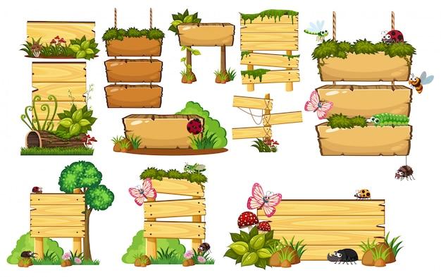 Set van houten borden