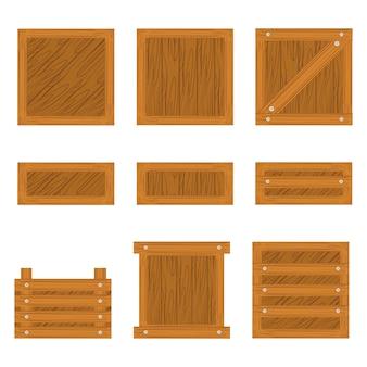 Set van houten kist pictogram geïsoleerd op een witte achtergrond