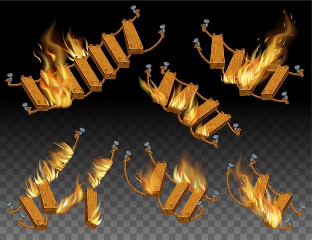Set van houten ladder en touw in vuurvlammen.