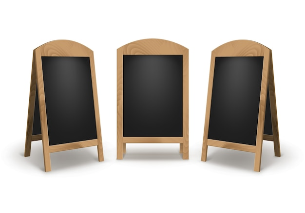 Set van houten lege lege reclame