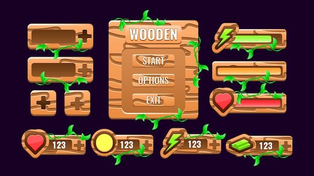 Set van houten natuurspel ui kit bord pop-up interface, balk, extra paneel en gui