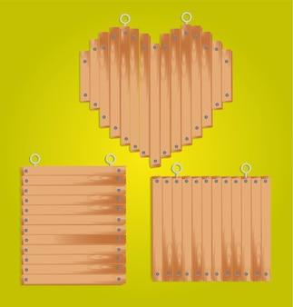 Set van houten panelen