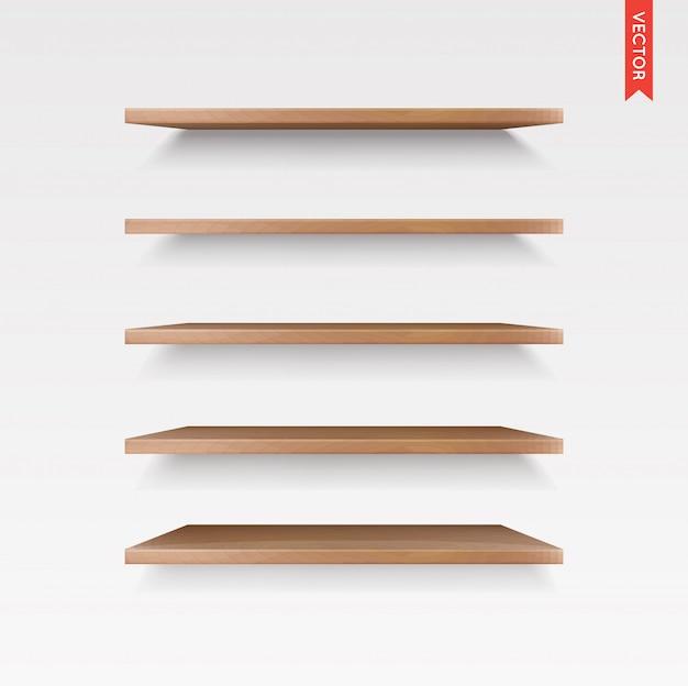 Set van houten planken geïsoleerd op muur