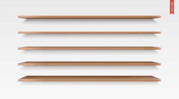 Set van houten planken vector geïsoleerd op de muur achtergrond