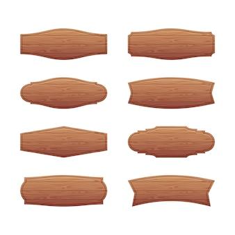 Set van houten uithangborden