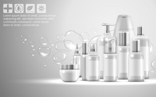 Set van huidverzorgingsproducten voor natuurlijke schoonheidsproducten