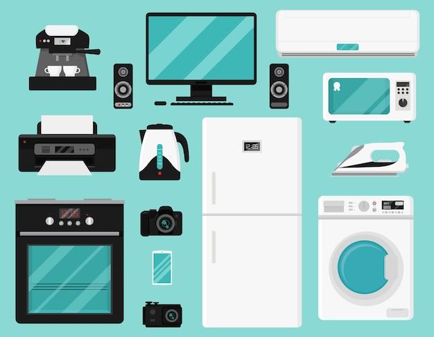 Set van huishoudelijke apparaten.
