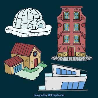 Set van huizen in verschillende stijlen
