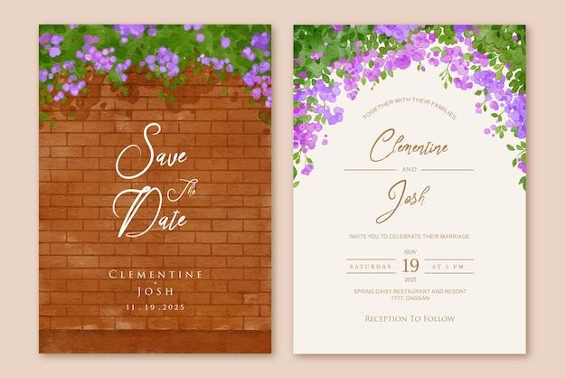 Set van huwelijksuitnodiging met bakstenen muur bougainvillea bloemen achtergrond sjabloon