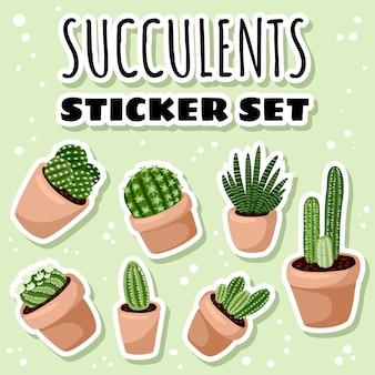 Set van hygge ingemaakte vetplanten stickers. gezellige lagom scandinavische stijl collectie van plantenlabels