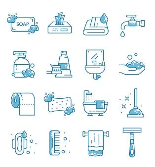 Set van hygiëne pictogrammen met kaderstijl