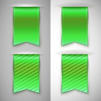 Set van iconen van groen lint, bladwijzer