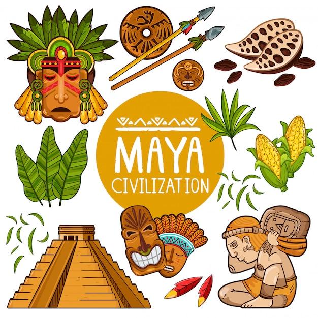 Set van iconen voor oude maya-cultuur