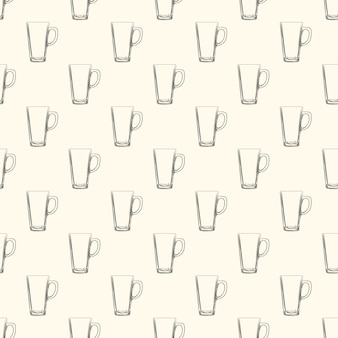 Set van ierse koffie mokken naadloze patroon. hand getekend glaswerk beker.