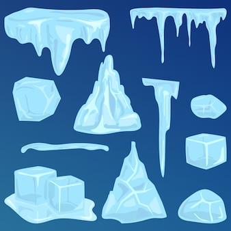 Set van ijs caps seizoensgebonden stijl scherpe bevroren pictogram. sneeuwbanken ijspegels en elementen winter decor vectorillustratie.