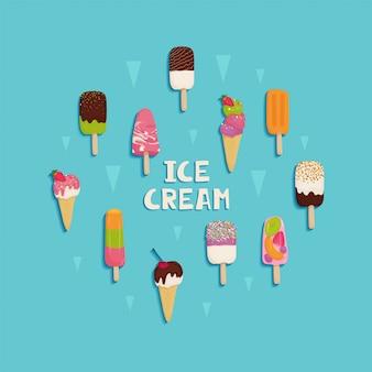 Set van ijs met chocolade, fruit, noten, pistachenoten, aardbeien, kersen, kiwi, sinaasappel