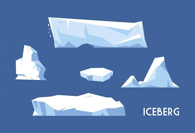 Set van ijsberg op blauwe achtergrond