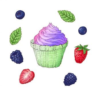 Set van ijsje kegel vectorillustratie