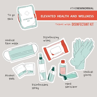 Set van illustratie van desinfecterende reisset. verhoogde gezondheid en welzijn. bescherm jezelf tegen ziektekiemen, bacteriën en virussen. coronavirus (covid-19). sticker set.