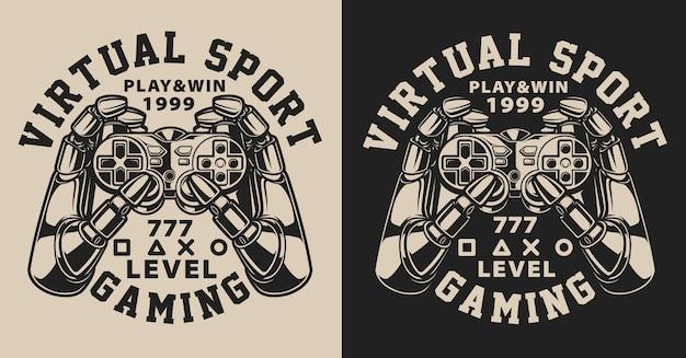 Set van illustraties met joystick in vintage stijl. tekst in een aparte groep.