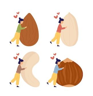Set van illustraties met meisje enorme noten knuffelen