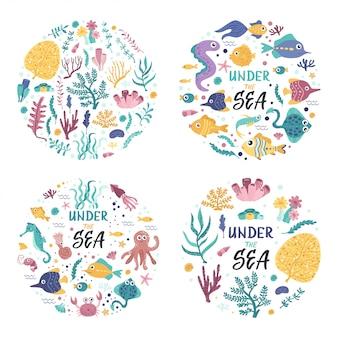Set van illustraties met zeewier en vissen.