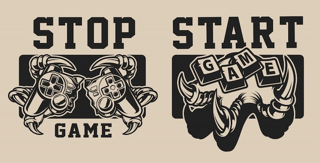 Set van illustraties op een gaming-thema met een joystick op een wit en zwart