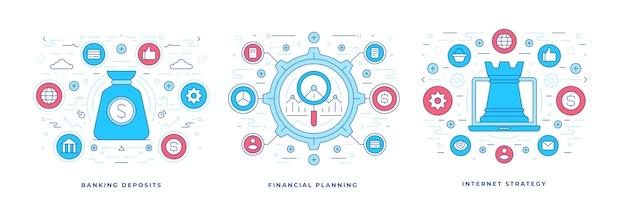 Set van illustraties platte lijn banners met kleurrijke grafische pictogrammen