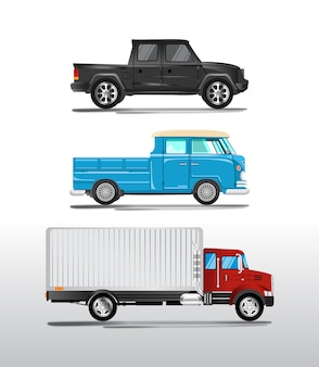 Set van illustraties van drie soorten moderne vrachtwagenauto's, realistische stijlvolle vectoren
