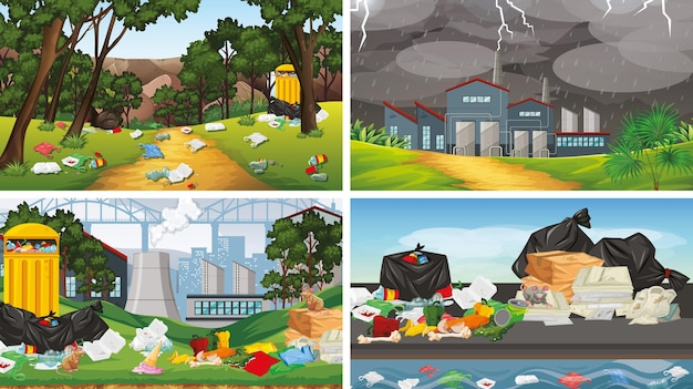 Set van illustraties van vervuiling