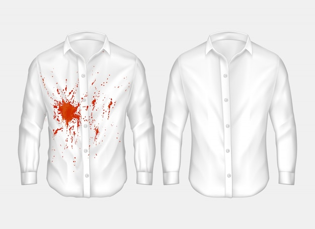 Set van illustraties van witte mannelijke shirt met rode vlek.