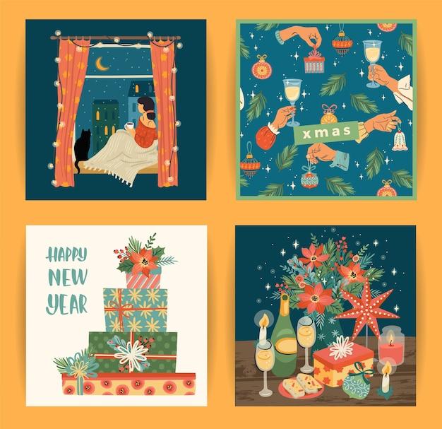 Set van illustraties voor kerstmis en gelukkig nieuwjaar