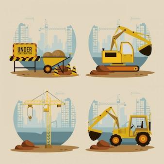Set van in aanbouw pictogrammen
