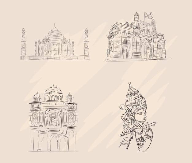 Set van india bezienswaardigheden schets stijl
