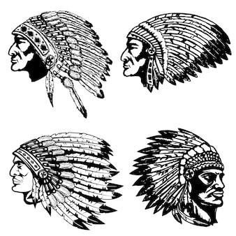 Set van indiaanse hoofden in hoofdtooi. elementen voor label, embleem, teken, poster, t-shirt. illustratie