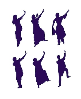 Set van indiase klassieke dansers silhouetess