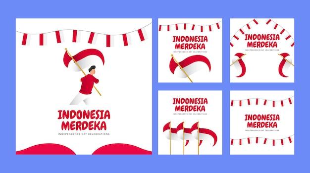 Set van indonesië onafhankelijkheidsdag banners sjabloon design met nationale vlag