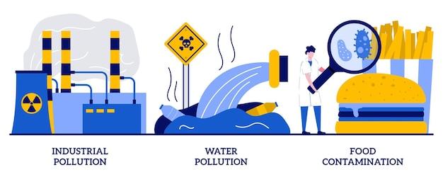 Set van industriële en watervergiftigingsvervuiling, voedselbesmetting;