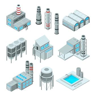 Set van industriële of fabrieksgebouwen