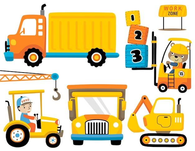Set van industriële voertuigen cartoon met grappige bestuurder