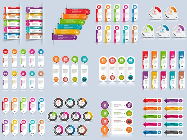 Set van infographic elementen vector ontwerpsjabloon. kan worden gebruikt voor de werkstroomlay-out, gegevens